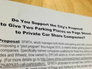 """A flyer distributed in the Lower Haight recently made the absurd argument that converting private car parking into car-share parking is """"privatization."""" Photo: Amy Stephenson/Hoodline"""